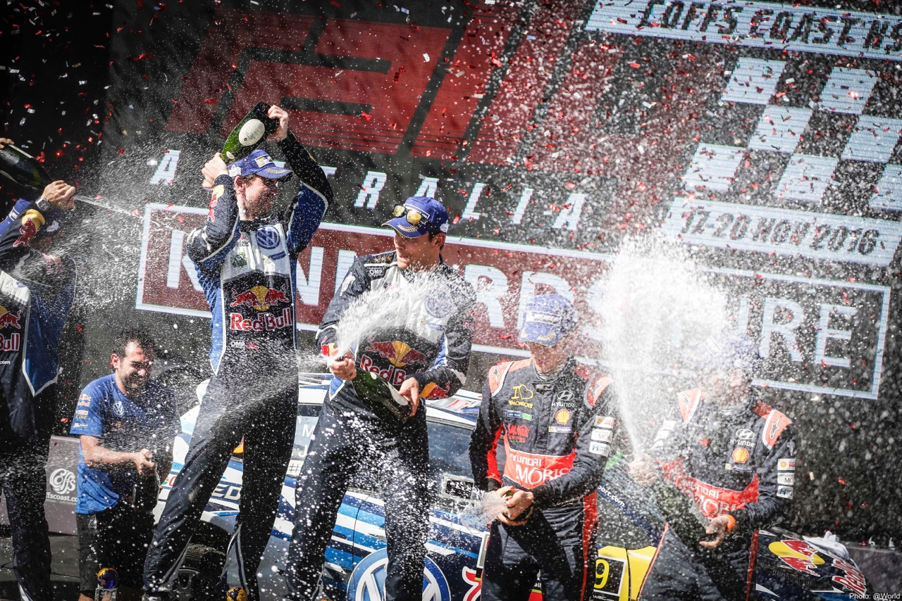 Podium celebration Rally Australia 2016
